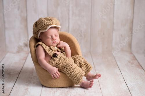 Newborn Baby Boy Wearing a Little Man Suit Canvas Print