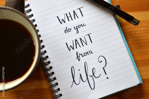 """Obraz na plátne Quote on notepaper """"WHAT DO YOU WANT FROM LIFE?"""""""