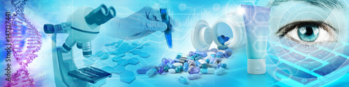pharmaceutical and biochemistry research concept background 3d illustration