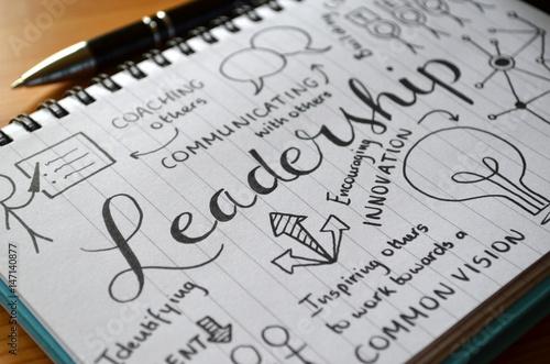 Fototapeta LEADERSHIP graphic notes on notepad
