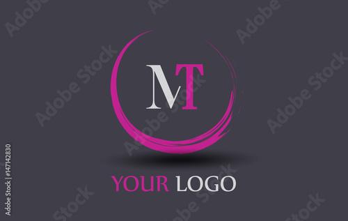 Obraz na plátně MT Letter Logo Circular Purple Splash Brush Concept.