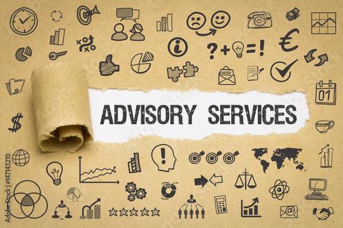 Advisory Services / Papier mit Symbole Canvas Print