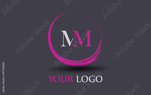 Poster MM Letter Logo Circular Purple Splash Brush Concept.