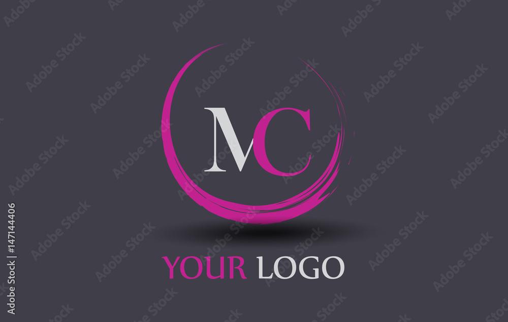 Fototapeta MC Letter Logo Circular Purple Splash Brush Concept.