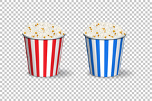 Popcorn Red And Blue Buckets Isolated On Transparent Background.