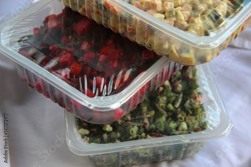Photo  salads in modified atmosphere packaging (MAP)