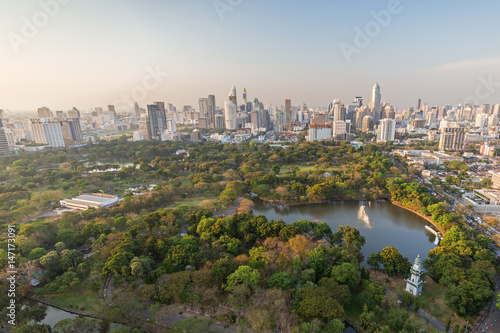 Scenic view of Lumpini (Lumphini) Park and Bangkok city in Thailand from above.