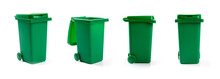 Green Wheelie Waste Bin Isolated On White Background