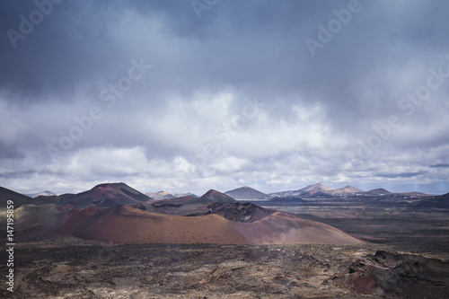 Staande foto Vulkaan Timanfaya National Park, Lanzarote, Canary Islands, sky and mountains view