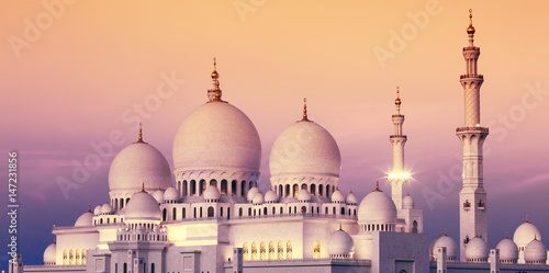 Poster Abou Dabi Abu Dhabi Sheikh Zayed Mosque at sunset