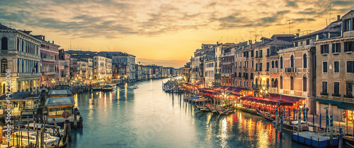 Famous grand canal from Rialto Bridge