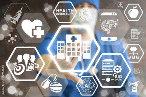 Plakat Nowoczesny szpital - innowacyjna klinika futurystyczna, koncepcja integracji technologii informatycznych. Smart Health Care integruje IoT, AI, big data, cloud, Robotic. Intelektualna pomoc medyczna.