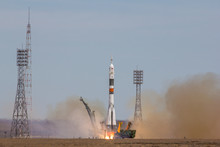 "Baikonur, Kazakhstan - April 20, 2017: Launch Of The Spaceship ""Soyuz MS-04"" To ISS With Shortened Crew"