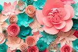 Kwiatowy modny streszczenie tło z 3d papierowymi kwiatami