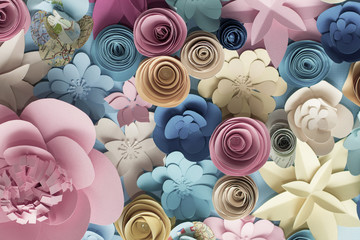 Fototapeta Floral trendy abstract background with 3d paper flowers