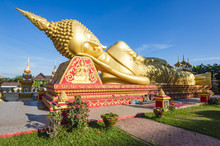Laos Golden Reclining Buddha Adjacent To Pha That Luang In Vientiane, Laos