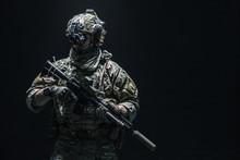 Army Soldier In Combat Uniform...