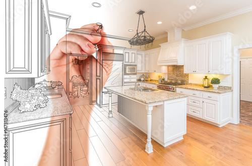Valokuva  Hand Drawing Custom Kitchen Design With Gradation Revealing Photograph