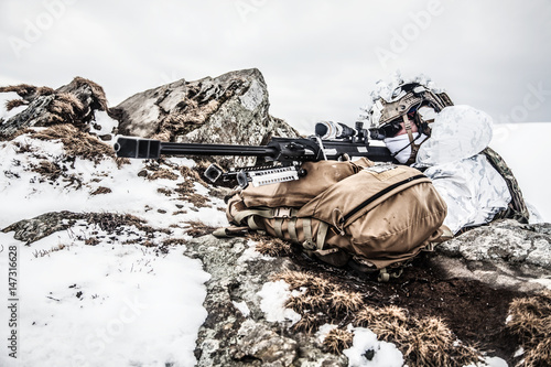 Cuadros en Lienzo Army soldier with Sniper rifle in action in the Arctic