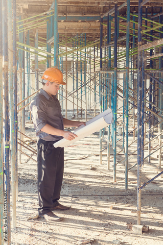 Construction concepts, Engineer and Architect working at