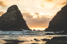 Rocky Pacific Coastline At Sunset