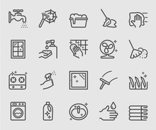Cleaning Set Line Icon