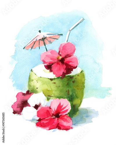 Fotografie, Obraz  Watercolor Cocktail Drink in Coconut Shell Hand Painted Beach Tropical Caribbean