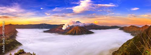 Aluminium Prints Indonesia Mount Bromo volcano (Gunung Bromo) during sunrise from viewpoint on Mount Penanjakan in Bromo Tengger Semeru National Park, East Java, Indonesia.