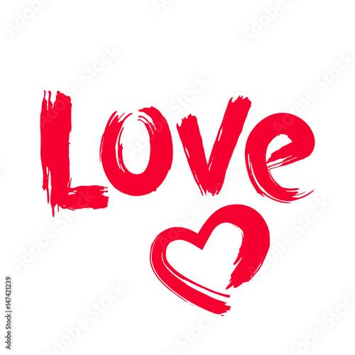 napis-love-i-recznie-rysowane-serce-w-czerwonym-kolorze