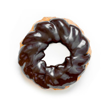 French Cruller Chocolate Donut Or Doughnut, Isolated On White