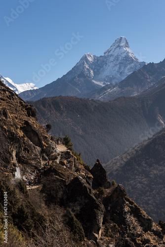 Trekking in Nepal unter der Ama Dablam Poster