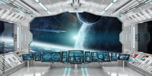 Fotomural Spaceship interior with view on distant planets system 3D rendering elements of