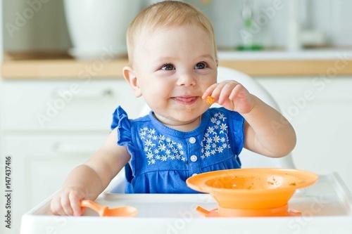 A little baby eats