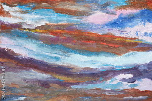 Stickers pour portes Eau A picture of abstract waves. Hand drawn oil painting. A work of painter. A landscape of water. Colorful background oil painting