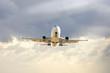 Large airliner flying in sky