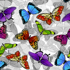 Panel Szklany Na szklane drzwi i okna Butterfly Seamless Background Pattern