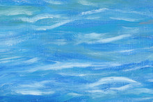Beautiful Abstract Background. Oil Painting, Sea Abstraction. Mixed Blue And White Colors. Unusual Art Technique. Handmade Work.