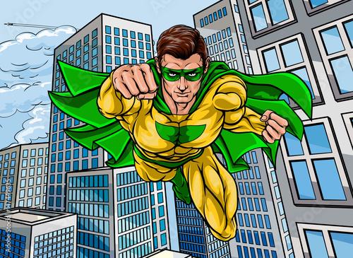 Flying Super Hero City Canvas Print
