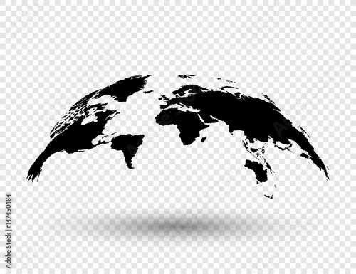 Photo  3D Earth globe with shadow on isolated background