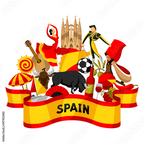 Foto  Spain background design. Spanish traditional symbols and objects
