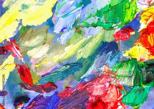 Fototapeta Farby olejne na palecie artysty do malowania