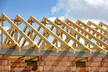 Wooden Frame Truss System Of The Roof Building