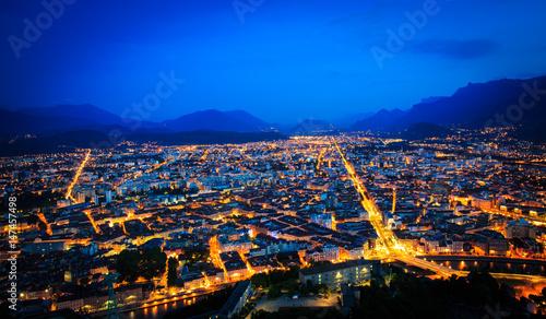 Obraz na plátně La nuit de Grenoble à partir de la Bastille