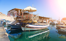 Seashells Shop Boat In Harbour...