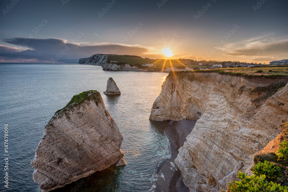 Fototapety, obrazy: Freshwater Bay, Isle of Wight, England at Sundown