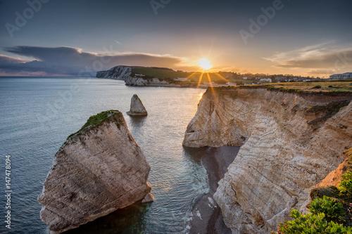 Obraz Freshwater Bay, Isle of Wight, England at Sundown - fototapety do salonu