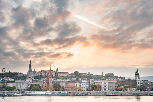 Poster New York Landscape of Budapest with some famous buildings and Danube river