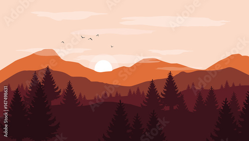Fototapeta Landscape with orange and red silhouettes of mountains and hills with sunset pink sky - vector illustration obraz