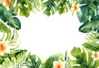 canvas print picture Hand drawn watercolor tropical plants background. Exotic palm leaves, jungle tree, brazil tropic borany elements. Perfect for fabric design. Aloha art.