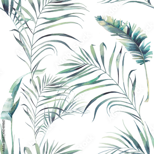 Tapeta do sypialni  summer-palm-tree-and-banana-leaves-seamless-pattern-watercolor-green-branches-on-white-background